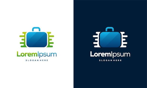 Pixel-koffer-logo-designs-vorlage, koffer-logo-designs mit technologie-symbol-vektor-illustration