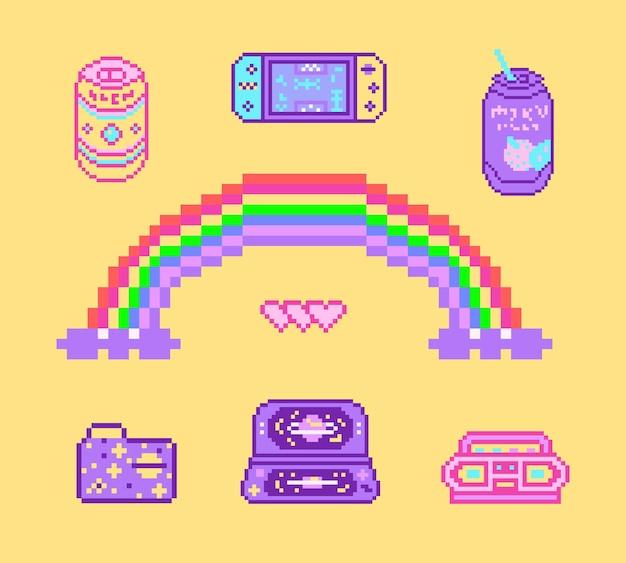 Pixel-kunst-bit-objekte retro-digital-spiel-assets aus rosa mode-ikonen vintage girly-aufkleber