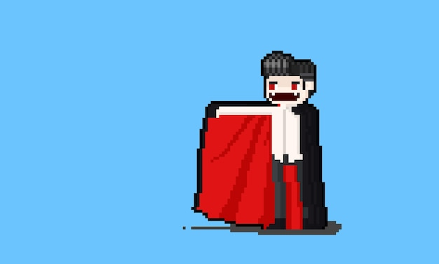 Pixel kunst cartoon dracula charakter design