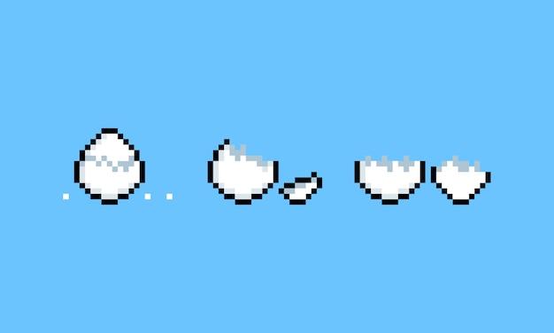 Pixel kunst cartoon geknackt eier icon set.