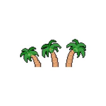 Pixel kunst cartoon kokosnuss icon design set.