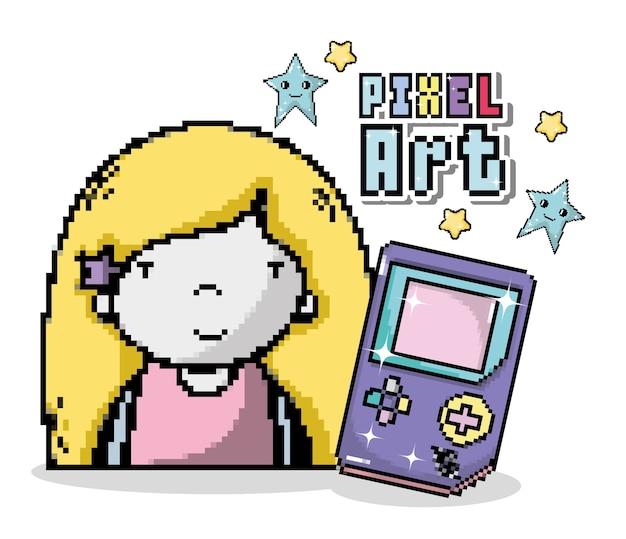 Pixel kunst cartoon mit mädchen und tetris