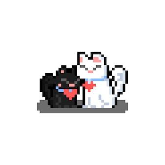 Pixel kunst cartoon paar katze charakter.