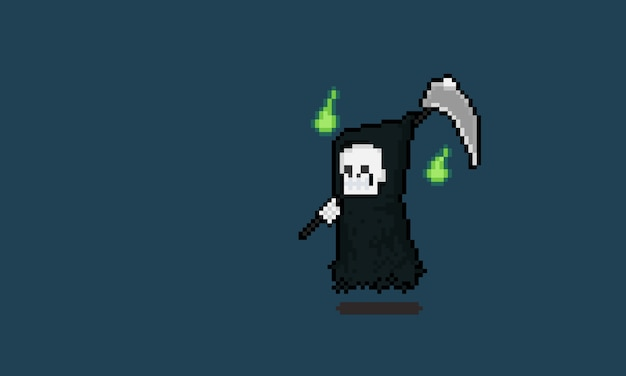 Pixel kunst cartoon schnitter charakter mit zwei grünen geist.
