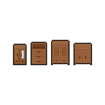 Pixel kunst cartoon schrank icon design set.