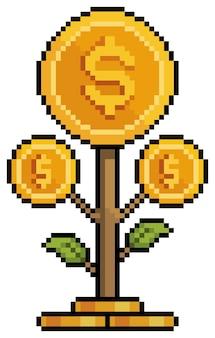 Pixel-kunst-münzenanlage investition und finanzierung 8-bit-spielsymbol auf weißem hintergrund