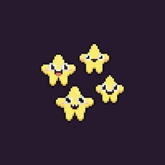 Pixel-kunst-set mit niedlichen cartoon-star-charakteren