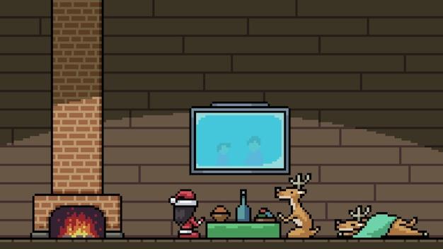 Pixel kunstszene weihnachtsmann nach hause
