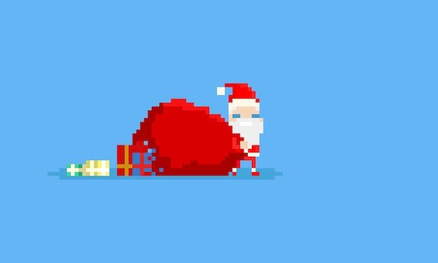 Pixel mini weihnachtsmann mit großen geschenktüte