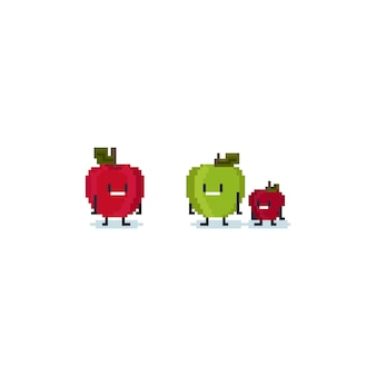 Pixel niedlichen apfel charakter