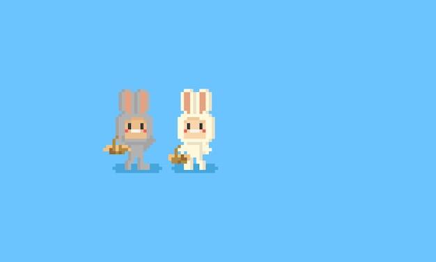 Pixel niedlicher charakter im kaninchenkostüm