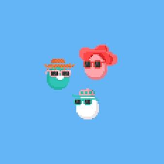 Pixel-osterei-charakter mit sonnenbrille