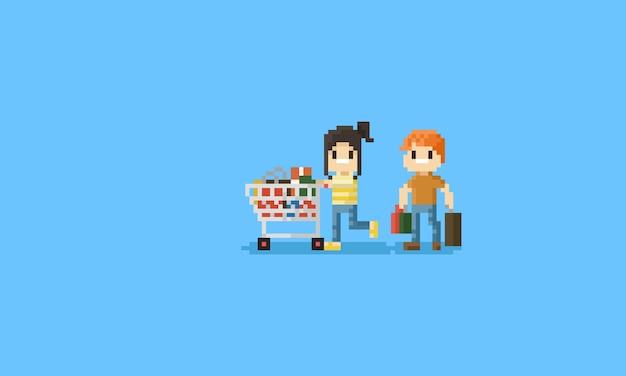 Pixel paar mit shopping cart.bit charakter