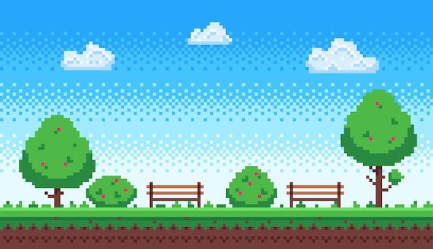 Pixel park. blauer himmel des retro-spiels, pixelbäume und parkbankillustration