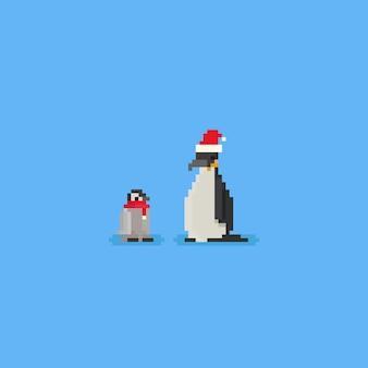 Pixel-pinguin mit rotem schal und sankt-hut