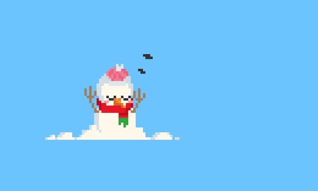 Pixel schlafender schneemann. weihnachten.8bit.