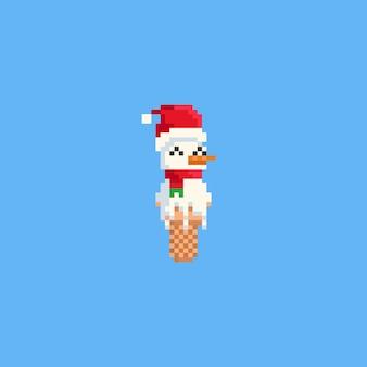 Pixel-schneemann-eiscreme