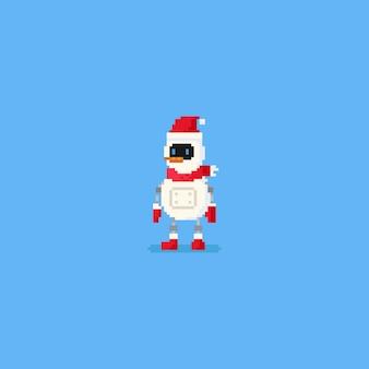 Pixel schneemann roboter. 8bit weihnachten charakter.