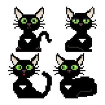 Pixel schwarze katze mit grünen augen