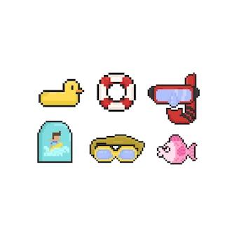Pixel schwimmen elemente