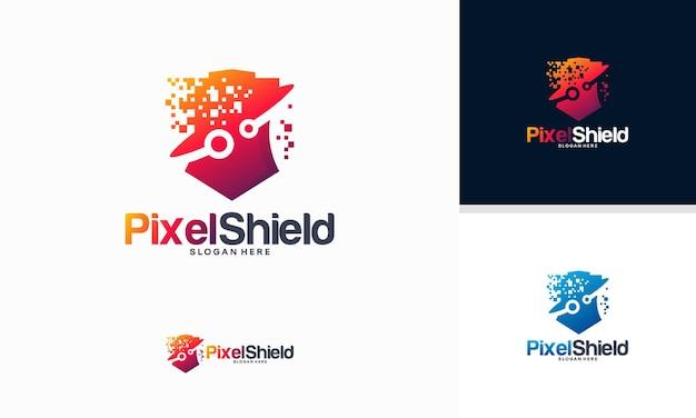 Pixel shield logo entwirft konzeptvektor, elegant technology secure logo-vorlage