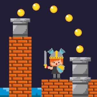 Pixel spiel ritter schild