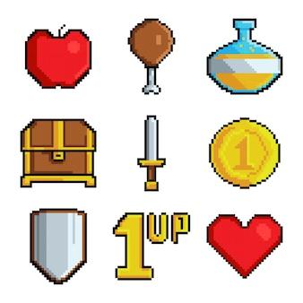 Pixel-spiele. verschiedene stilisierte symbole für videospiele