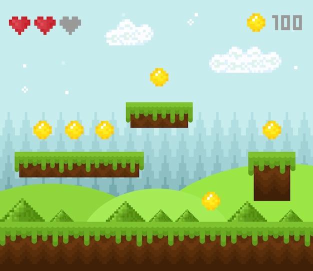Pixel-spielelandschaft im retro-stil, pixelige spiellandschaftssymbole, alter spielhintergrund, pixel-design.