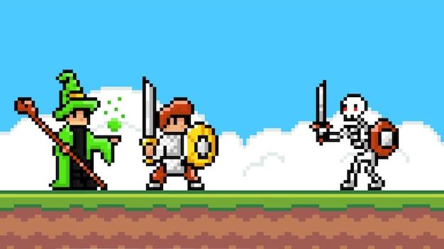 Pixel-spieloberfläche. pixalated zauberer und ritter kämpfen, skelett monster mit schwert angreifen