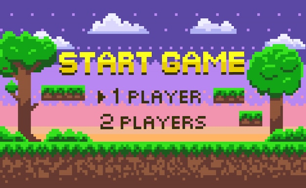 Pixel-startspiel, grüner standort, abenteuer-vektor