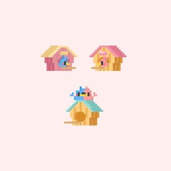 Pixel süßer vogel mit vogelhäuschen