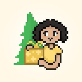 Pixel süßes mädchen mit geschenk weihnachtsbaum hintergrund