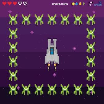 Pixel-szene des retro-videospielraums