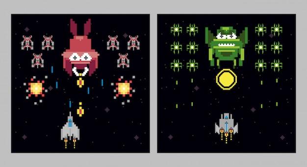 Pixel-szenen im retro-videospielraum