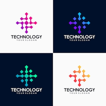Pixel tech logo set