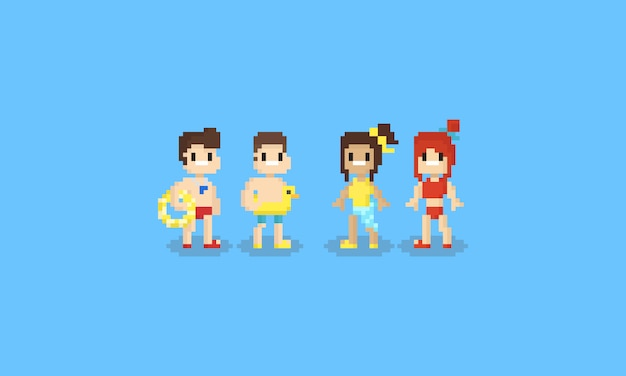 Pixel teen mit badeanzug kostüm