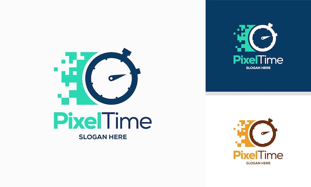 Pixel time logo entwirft konzeptvektor technologie stoppuhr logo entwirft symbol symbol vorlage