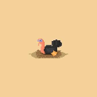 Pixel truthahn mit nest.thanksgiving day.8bit charakter. Premium Vektoren