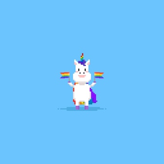 Pixel unicorn, das regenbogenflagge hält
