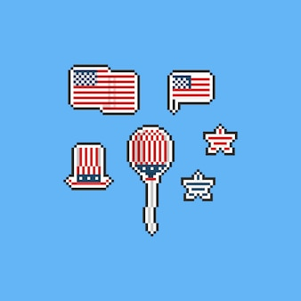 Pixel united state independence day elemente. 8 bit.