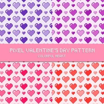 Pixel-valentinstag-muster-buntes herz