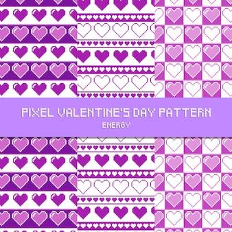 Pixel-valentinstag-muster-energie-purpur