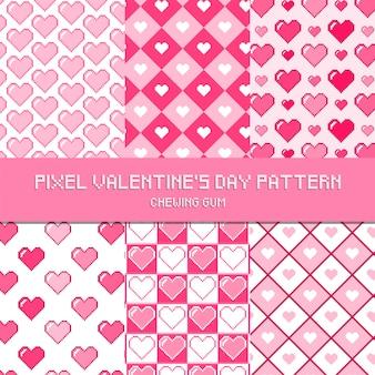 Pixel-valentinstag-muster-kaugummi