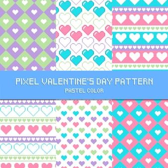 Pixel-valentinstag-muster-pastellfarbe