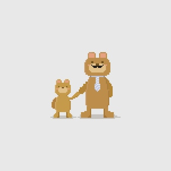 Pixel vatertag. vatibär und sein sohn, die sie hand zusammenhalten.