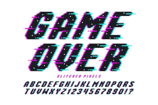 Pixel-vektor-alphabet-design, stilisiert wie in 8-bit-spielen. hoher kontrast und scharf, retro-futuristisch. einfache farbkontrolle der farbfelder. größenänderungseffekt.