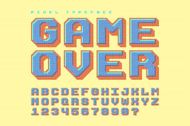 Pixel-vektorschrift, stilisiert wie in 8-bit-spielen