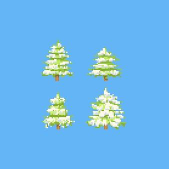Pixel weihnachtsbaum mit schnee