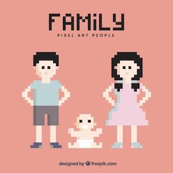 Pixelated familie zeichen
