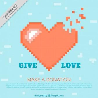 Pixelated herz charity-hintergrund